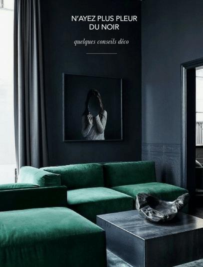 colori per pareti in nero: il soggiorno