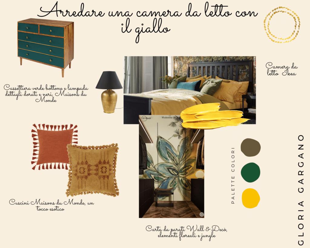 Moodboard: arredare una camera da letto con il giallo