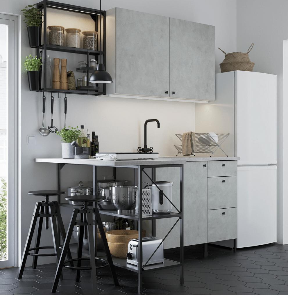 Cucina IKEA piccolissima angolare, antracite/effetto cemento