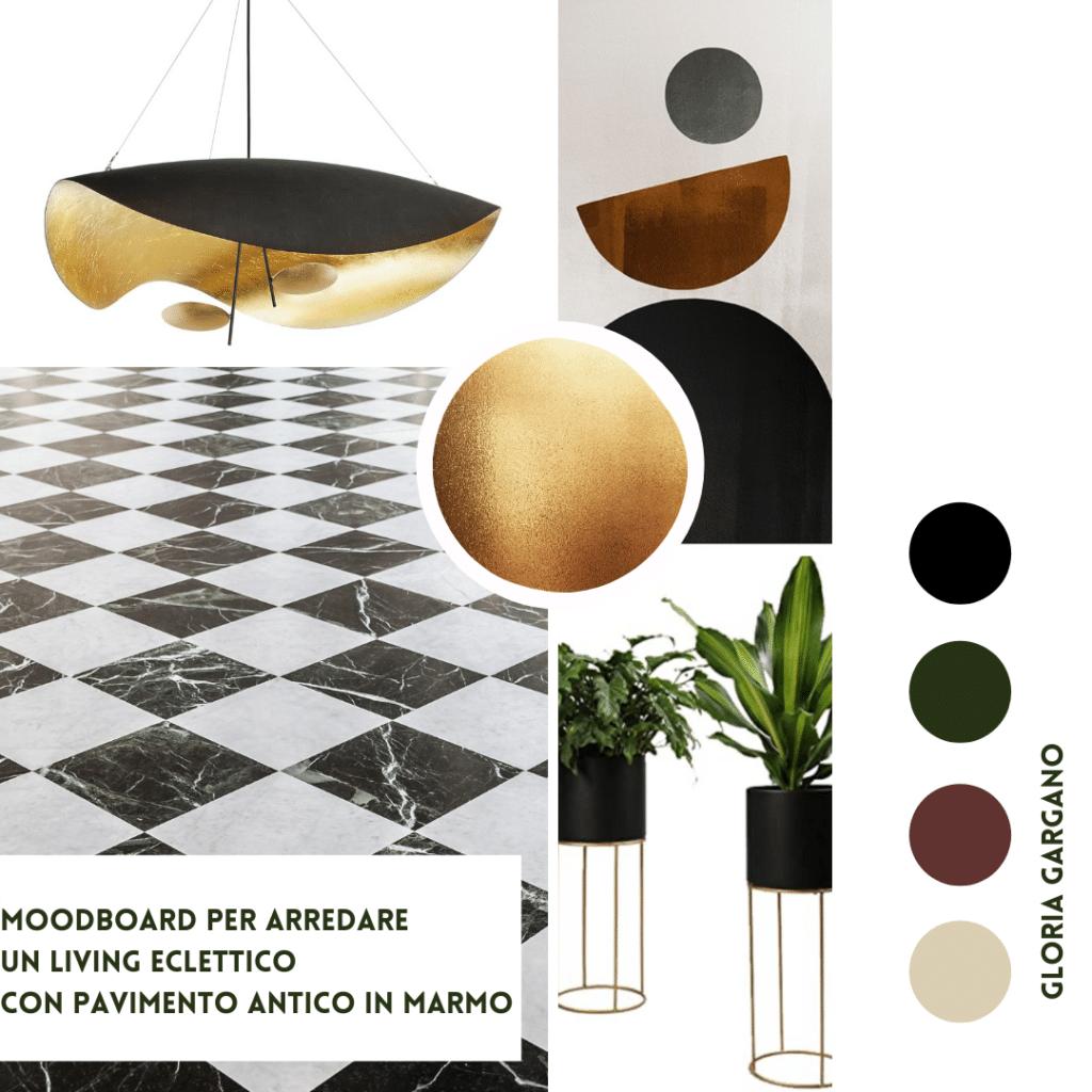 Moodboard pavimento in marmo per soggiorno eclettico