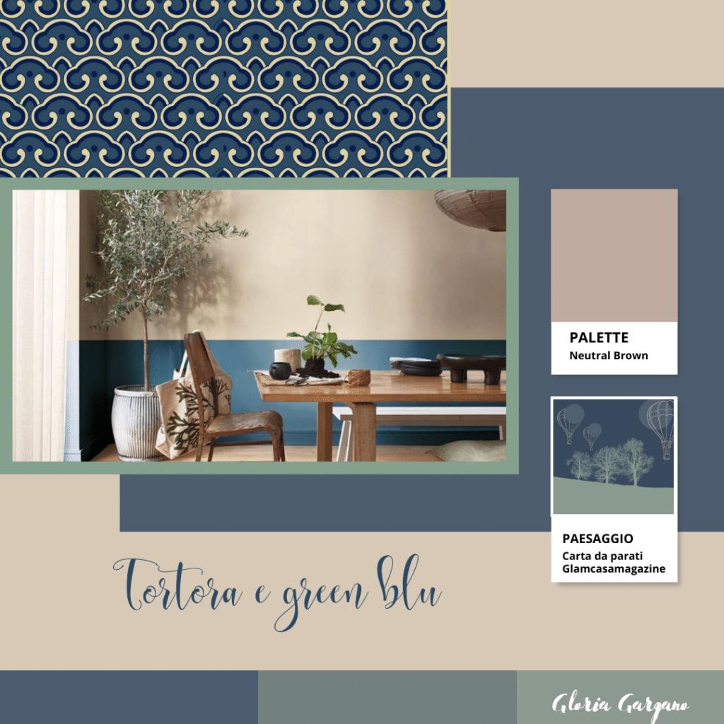 Soggiorno stile orientale con pareti colore tortora e green blu