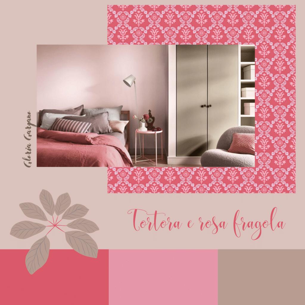 Una camera da letto tortora e dai colori più frizzanti