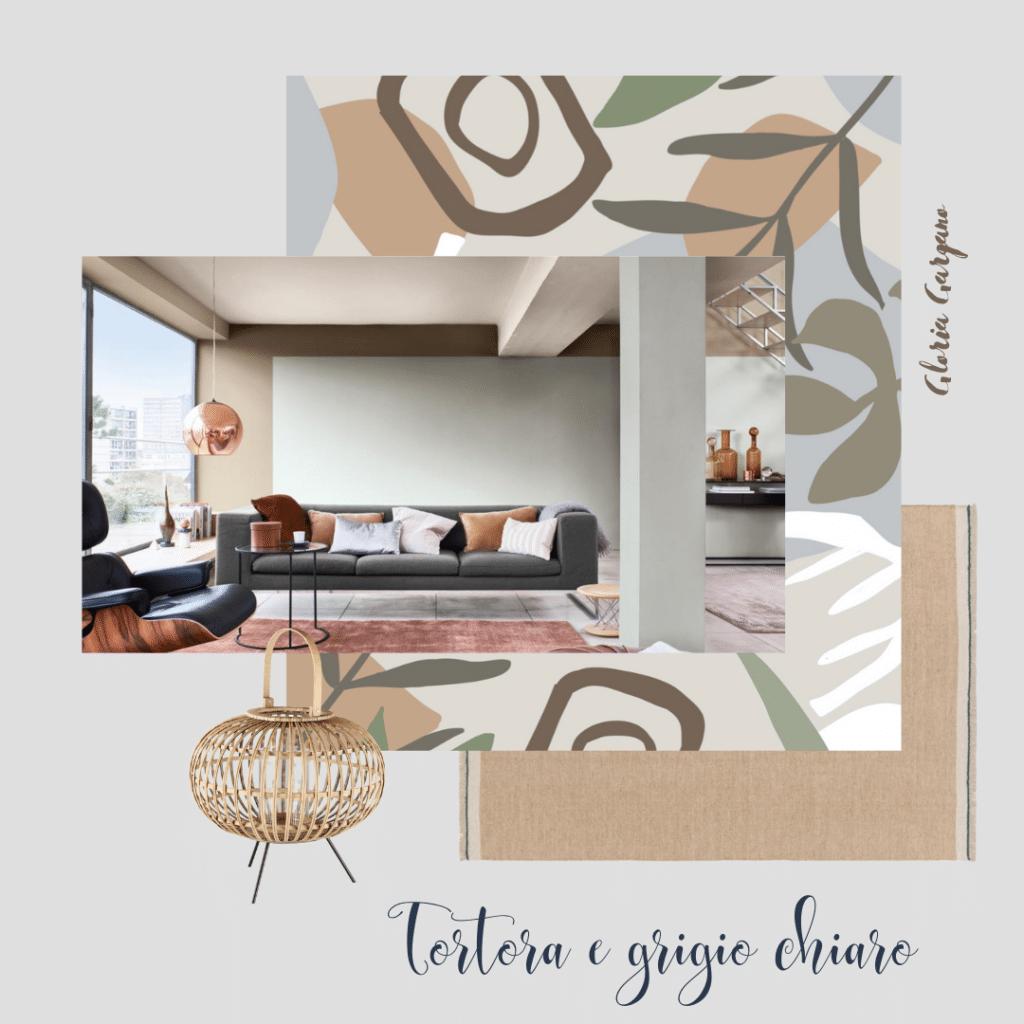 Colore tortora e grigio per pareti di un soggiorno classico