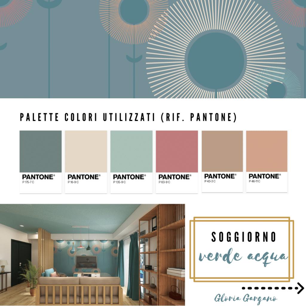 Soggiorno verde acqua: pareti e carta da parati da abbinare