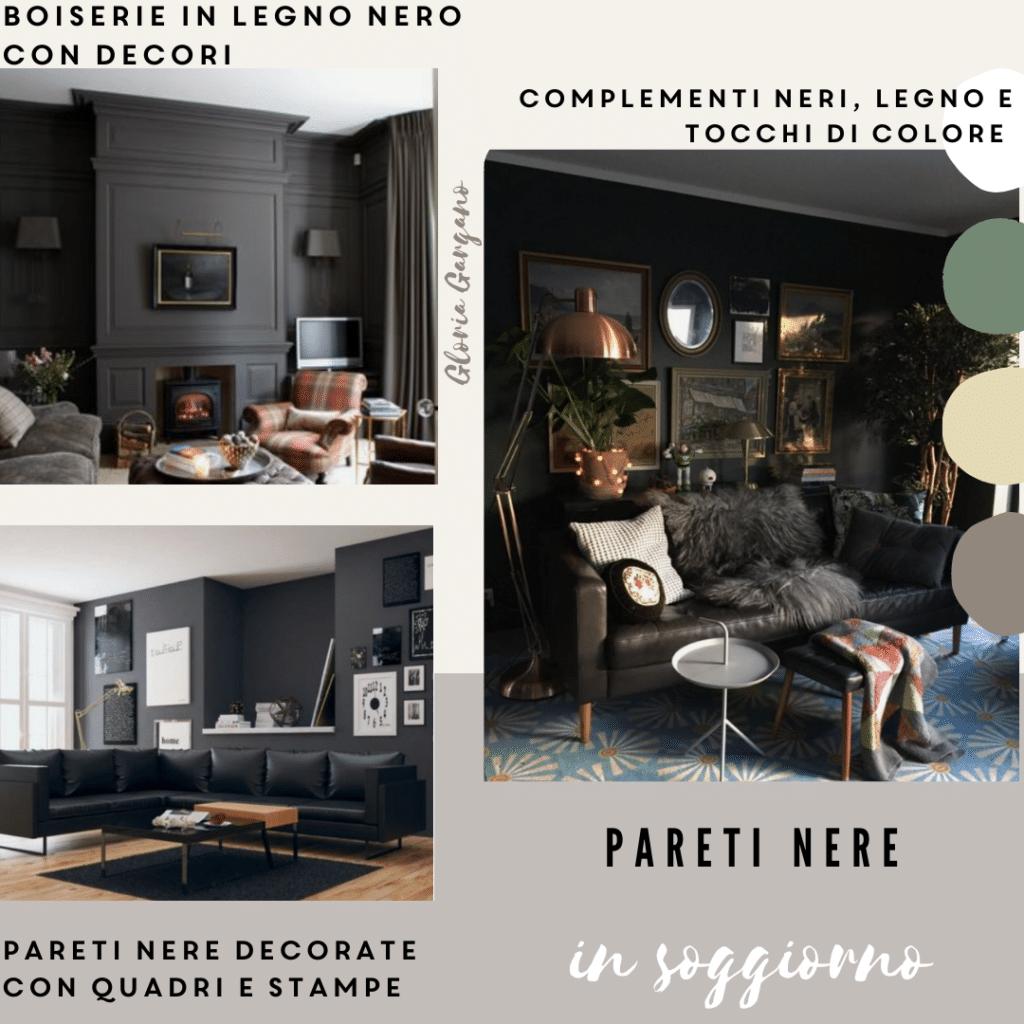 Pareti nere in soggiorno moderno: boiserie o pittura?