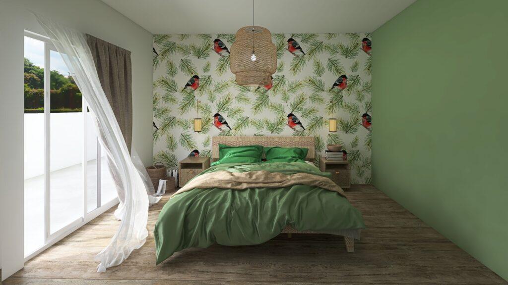 decorare la camera con carta da parati con uccellini verdi