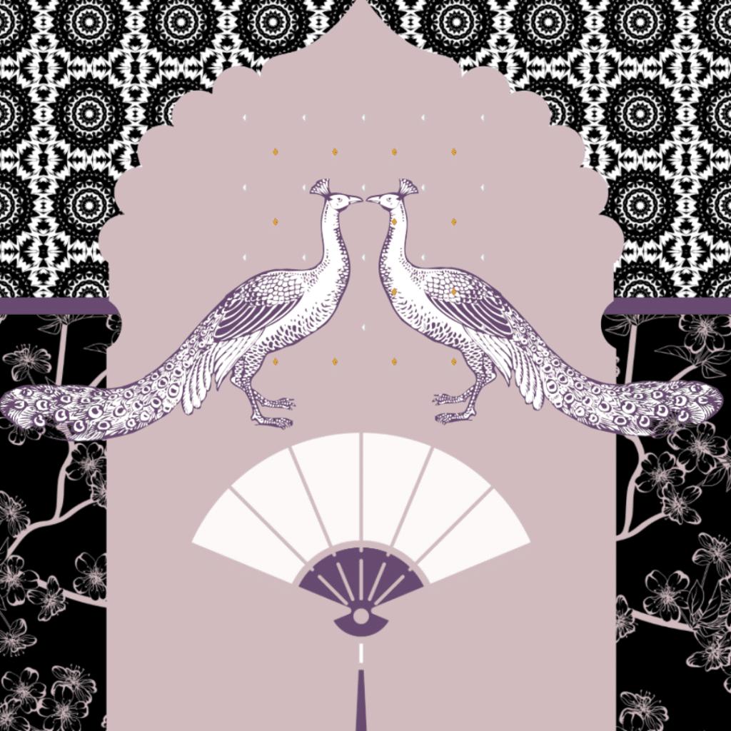 carta da parati nera e rosa con pavoni e fiori