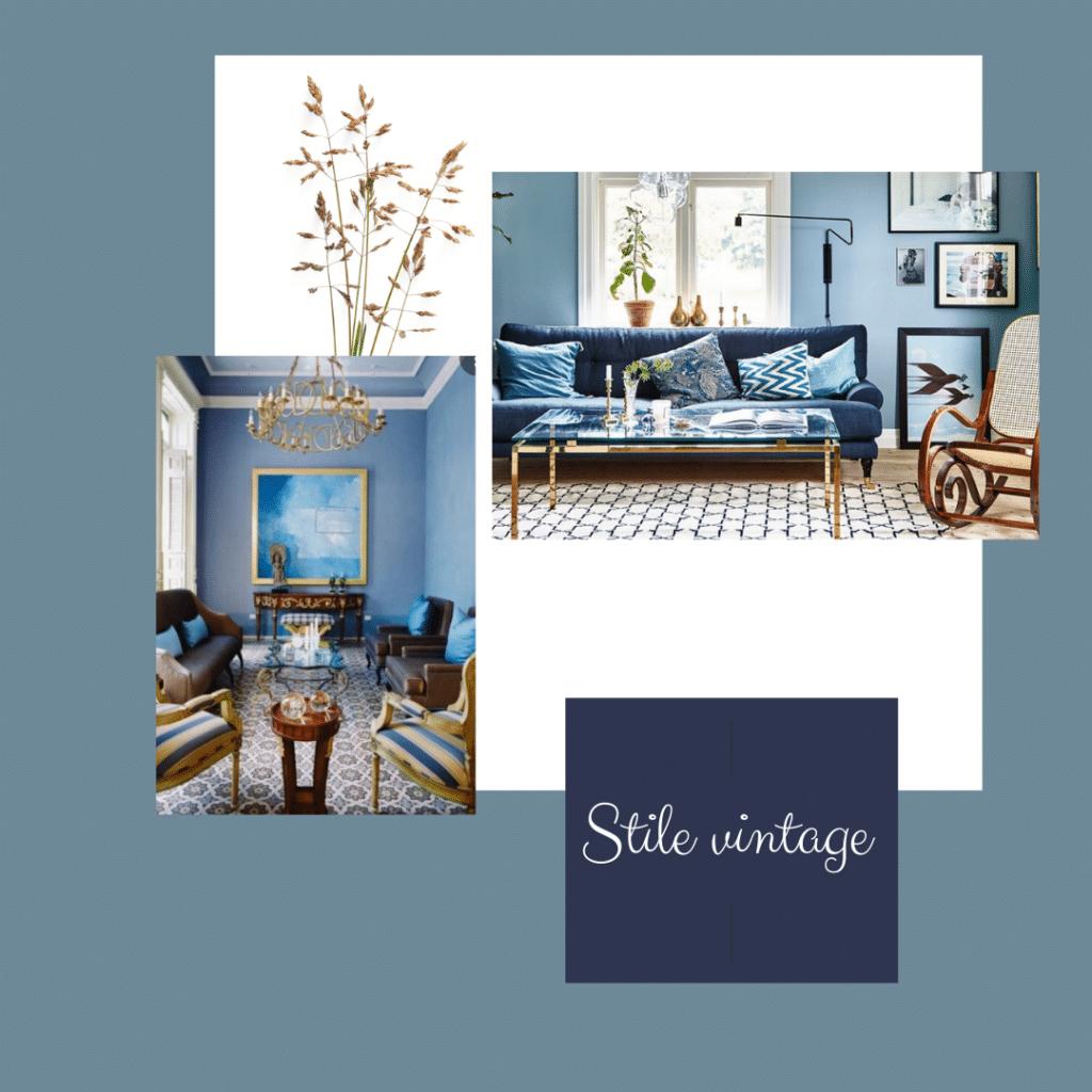 pareti blu per stile vintage