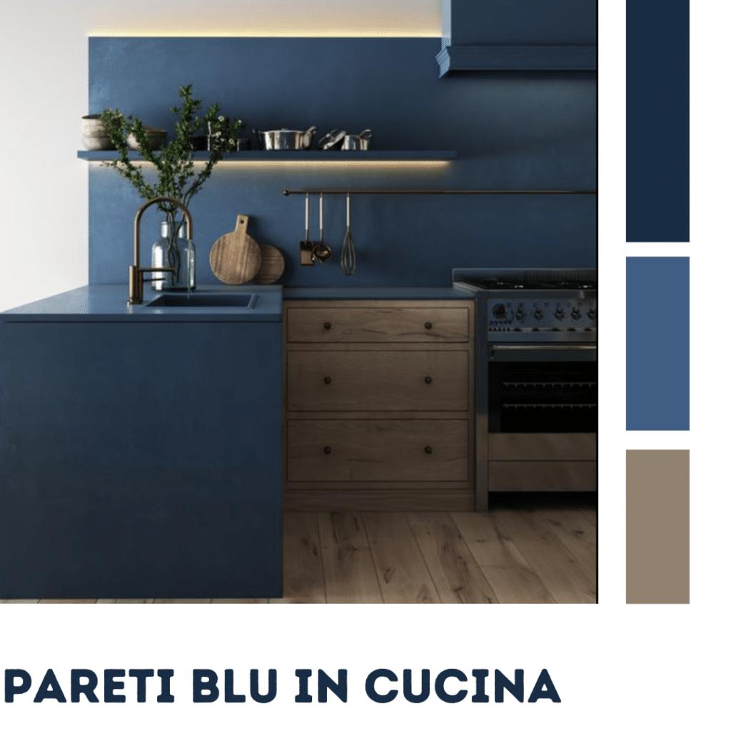 pareti blu in cucina