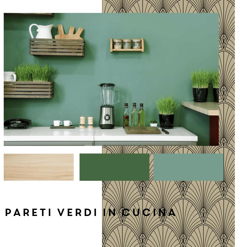 pareti verdi in cucina