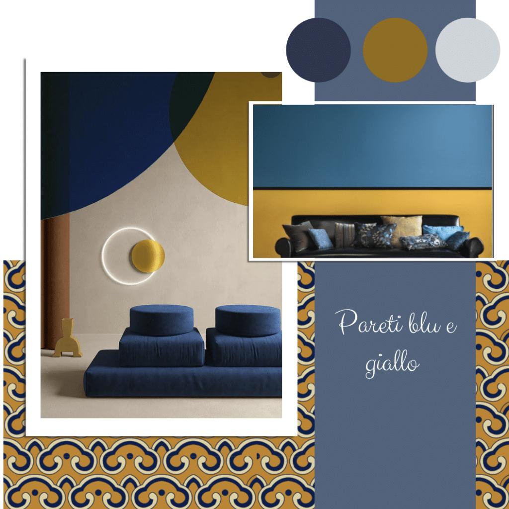 pareti blu e giallo (o senape)