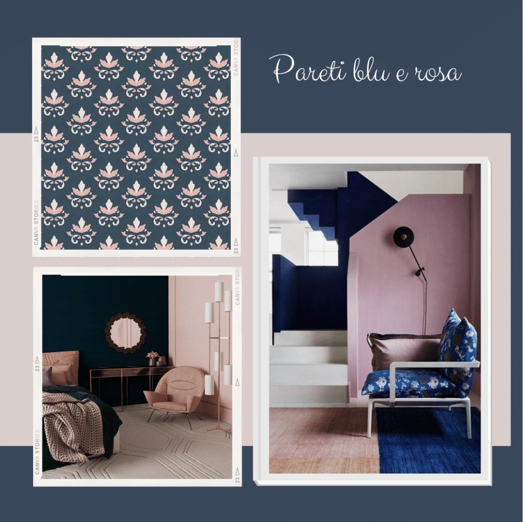 pareti blu e rosa antico